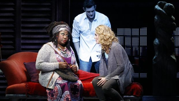 Unambiguously funny: Oda Mae Brown (Wendy Mae Brown) with Sam (Rob Mills) and Molly (Jemma Rix) in Ghost the Musical.