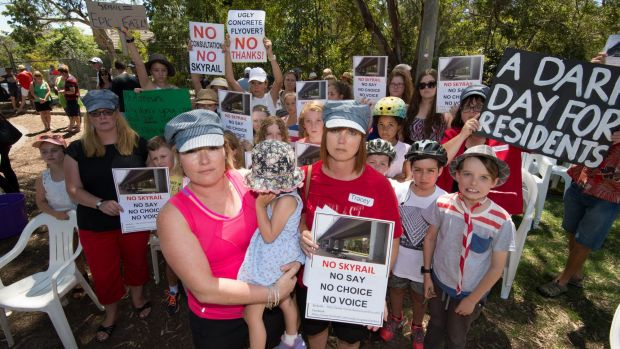 Murrumbeena residents Karlee Browning and Tracey Bigg attend a protest earlier this month against a proposed elevated ...
