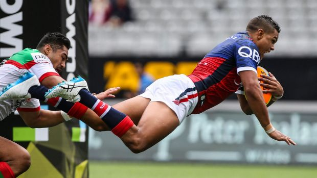Flying Rooster: Rookie Latrell Mitchell has been in impressive form during this year's Auckland Nines tournament.