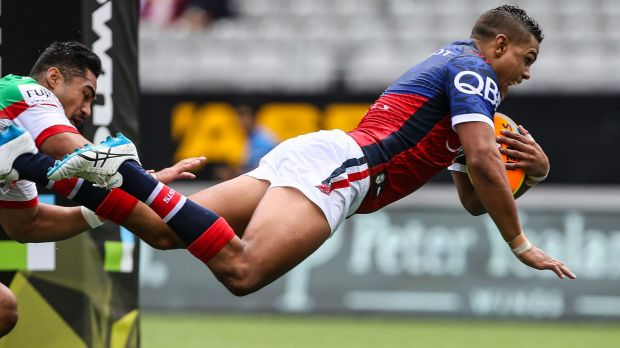 Latrell Mitchell scores a try during the Auckland Nines last weekend.
