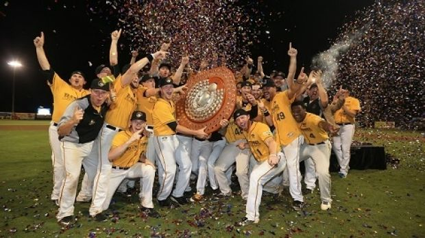 The Brisbane Bandits celebrate their championship series win over the Adelaide Bite.