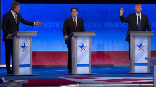 Jeb Bush (left) said he would not employ waterboarding, while Marco Rubio declined to provide a definitive answer on the ...