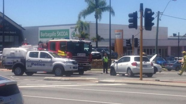 The scene of a crash in Osborne Park where a young girl has been rushed to hospital.