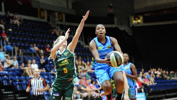 Jump start: Canberra Capitals player Renee Montgomery in action on Sunday.