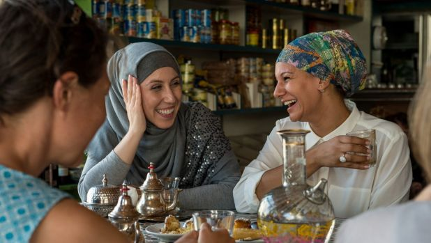 Amina Sadikay and Hebba El Masri at the Moroccan Deli-cacy cafe, taking part in Speed Date a Muslim which is to become a ...