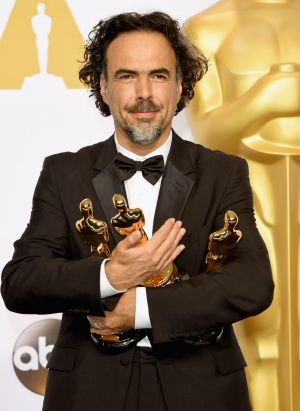 Director Alejandro Gonzalez Inarritu with his Oscars for best original screenplay, best director at best picture for ...
