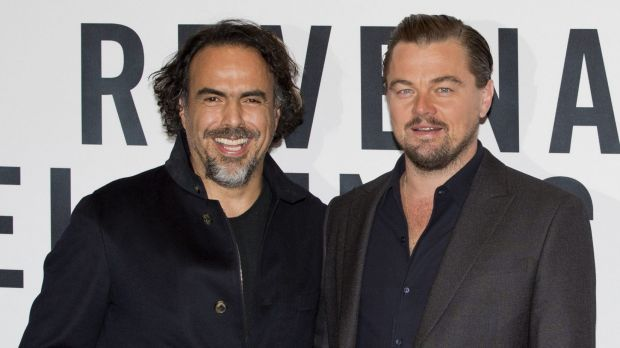 Mexican director Alejandro Gonzalez Inarritu, left, and Leonardo DiCaprio during a press event to promote <i>The ...