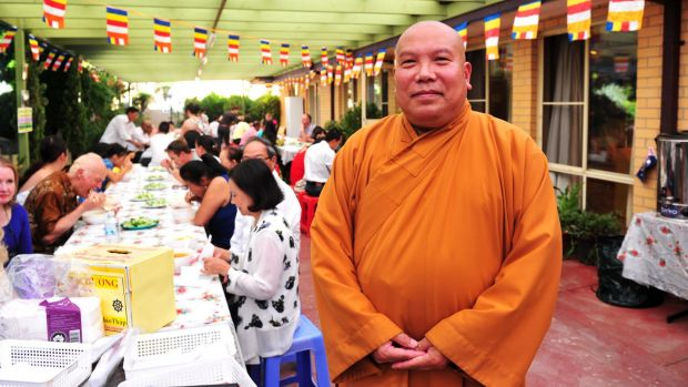 Enjoying the lunar new year celebrations at the Sakyamuni Buddhist Centre in Lyneham  is Quang Ba.