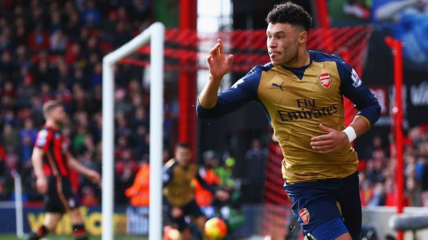 Alex Oxlade-Chamberlain celebrates scoring Arsenal's second goal against Bournemouth.