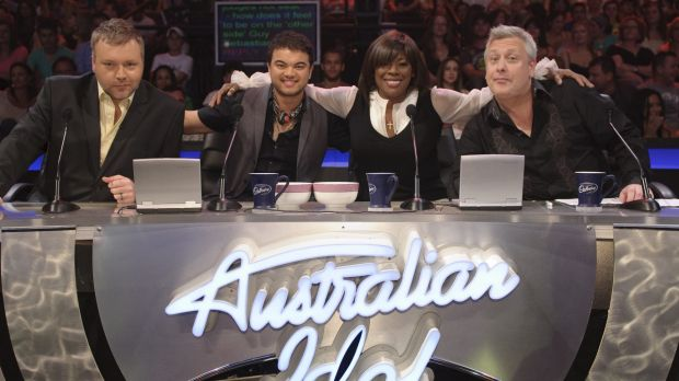 "Australian Idol judges Kyle Sandilands, original winner and guest judge Guy Sebastian, Marcia Hines and Ian ""Dicko"" Dickson."