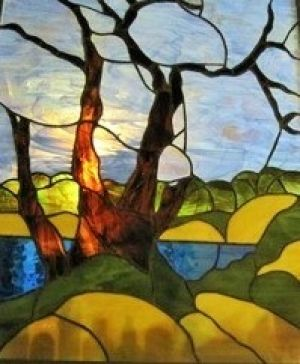 "Broulee's ""Pipi tree"" was painted by Meryl Hunter and the sketch was made into a stained-glass window."
