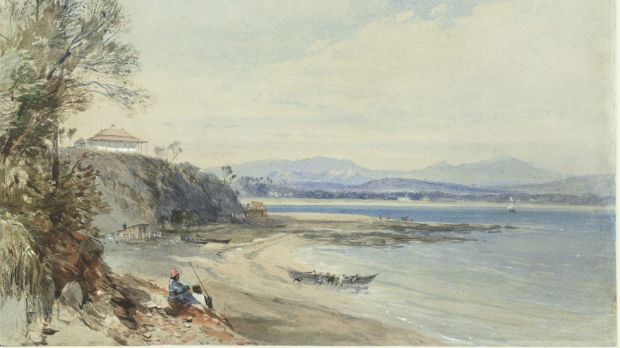 John Skinner Prout's 1843 painting of Broulee Island, featuring the Erin-Go-Bragh Inn.