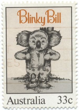 An 1985 Australia Post stamp featuring Blinky Bill, designed by Peter Leuver.