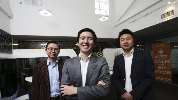 Rebuffed: Bitcoin Group chief executive Sam Lee, flanked by associates Jim Chen (left) and Allan Guo (right).
