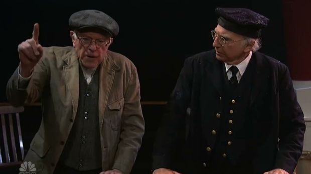 Reprising his crotchety take on Bernie Sanders, Larry David is joined by the presidential candidate during the taping of ...