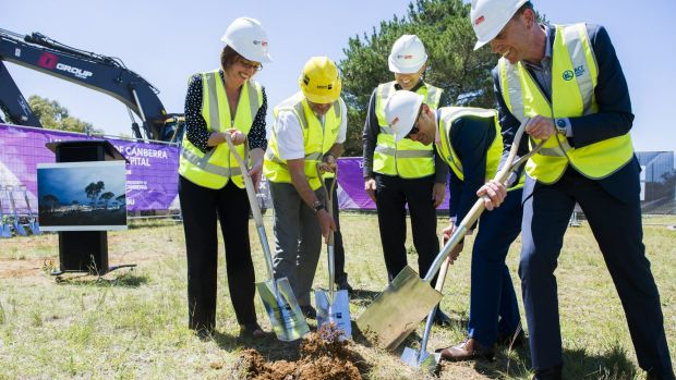 Meegan Fitzharris, left, Stephen Parker, Chris Burke, Andrew Barr, and Simon Corbell at the sod-turning event at the ...