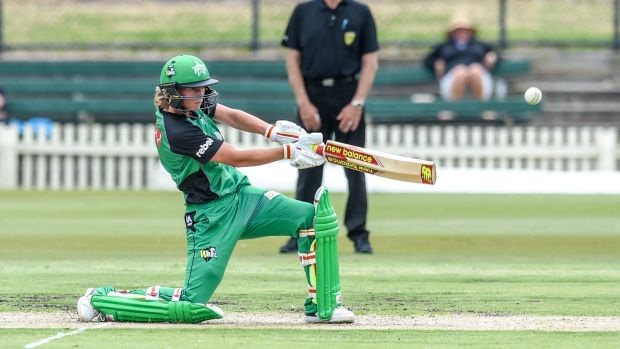 Meg Lanning on her way to an unbeaten 84 including three sixes and 7 fours in the Stars total of 1 for 158.