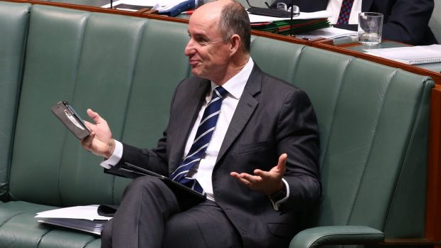 Minister Stuart Robert during question time on Monday.