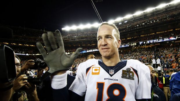 In the spotlight: Peyton Manning, pictured after the Denver Broncos Super Bowl 50 win.