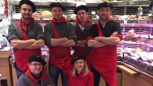 """The team at the Boucherie Basque """"l'ami Txulette"""" in Paris. The butchers have now added a vending machine to the outside ..."""