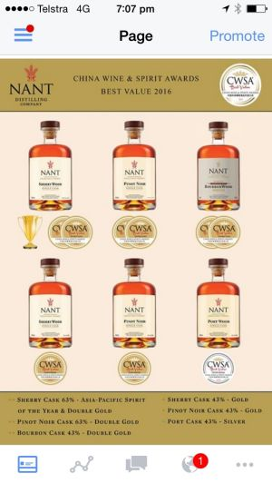 Nant Whisky with awards given to its product in the China Liquor awards in January 2016.