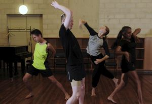 Australian Talented Youth Project at the ANU School of Music. A dance class in progress, from left, Jonah Johnston, 15, ...