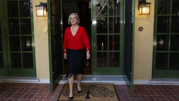 Lucy Turnbull shows off the restored Lodge in Canberra.