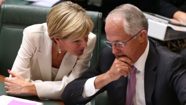 Foreign Affairs minister Julie Bishop and Prime Minister Malcolm Turnbull confer during question time on Monday.
