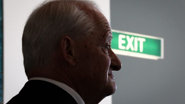 Liberal MP Philip Ruddock addresses the media during a doorstop interview after announcing he will not be seeking ...