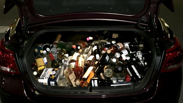An image of the boot loaded with allegedly stolen alcohol.