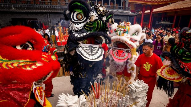 Lion dance in the courtyard of the Bright Moon Buddhist temple during Lunar New Year celebrations 2016.