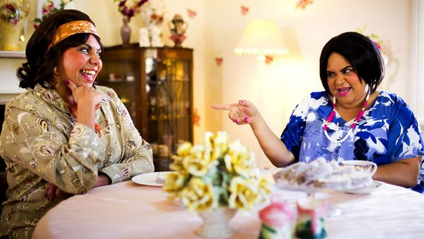 Deborah Mailman and Leah Purcell in Black Comedy.