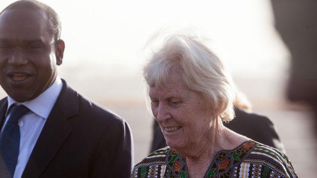 Jocelyn Elliott is greeted at the airport in Ouagadougou, Burkina Faso.