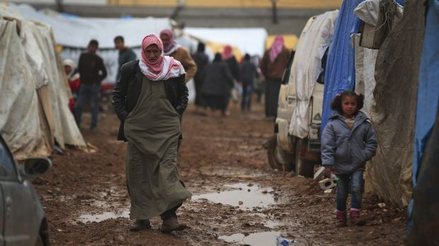 The muddy squalor of the Syrian refugee camp near the Bab al-Salam border crossing with Turkey.