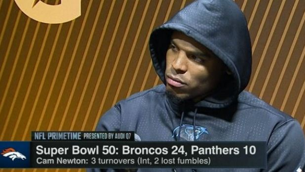 Not in the mood to talk: Carolina Panthers quarterback Cam Newton.