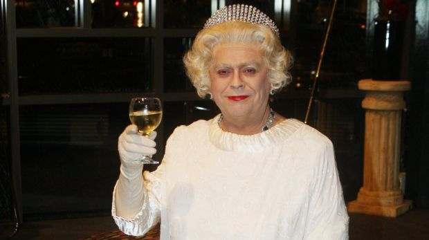 Gerry Connolly dressed and performing as the Queen.