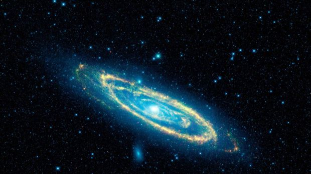 Our nearest large galactic neighbour, Andromeda. It's about 2.4 million light years away.
