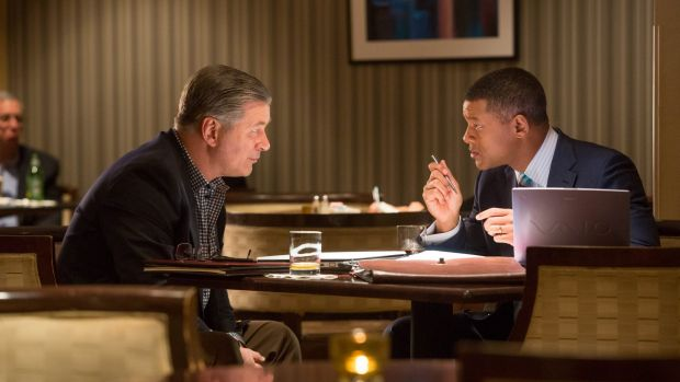Ill-served: Alec Baldwin and Will Smith play reluctant allies in <i>Concussion</i>.