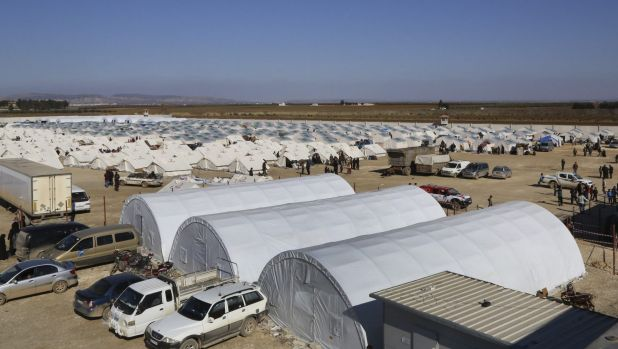 A temporary refugee camp for displaced Syrians in northern Syria, near the Bab al-Salameh border crossing with Turkey.
