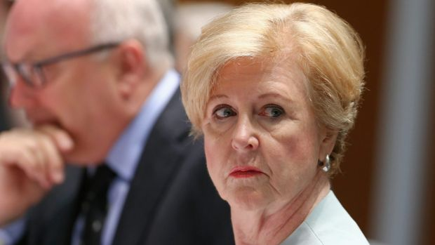 Attorney-General George Brandis and Australian Human Rights Commission president Professor Gillian Triggs during the ...