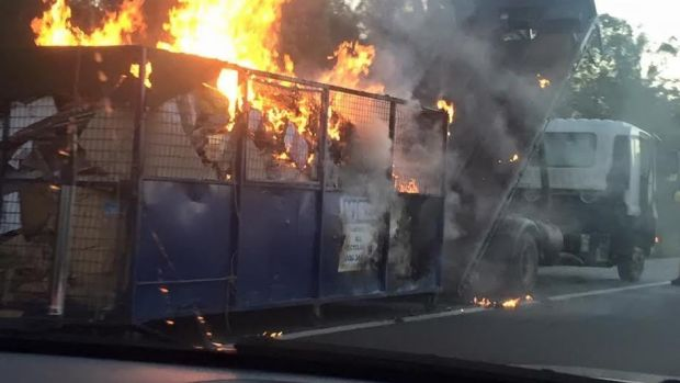 A truck's load spontaneously burst into flame on Tuesday.