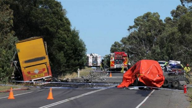 The scene of the fatal crash on the Glenelg Highway at Tarrington.