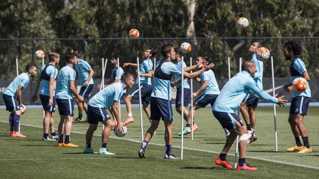 Melbourne City players train at LaTrobe ahead of Saturday Night's derby.