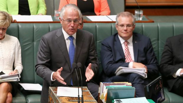 Prime Minister Malcolm Turnbull and Treasurer Scott Morrison during question time on Tuesday.