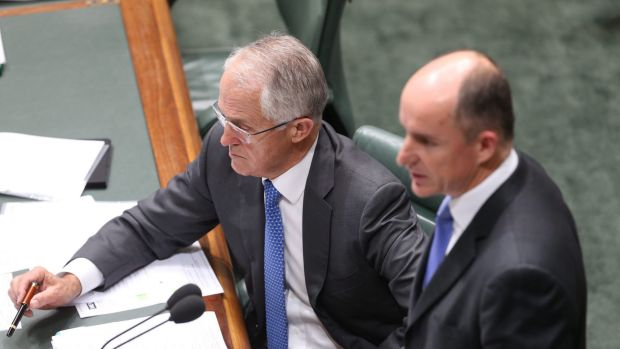 Prime Minister Malcolm Turnbull and Human Services Minister Stuart Robert during question time on Tuesday.