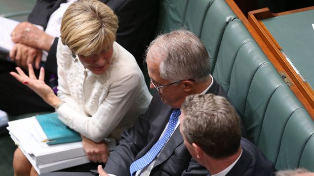 Foreign Affairs Minister Julie Bishop,  Prime Minister Malcolm Turnbull and Innovation Minister Christopher Pyne during ...