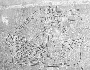 Late medieval ship graffiti, Norwich Cathedral, England.