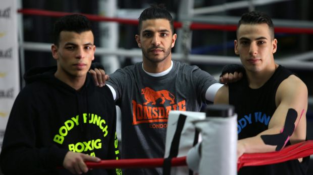 Dib, centre, training his brothers Youssef  and Billel.