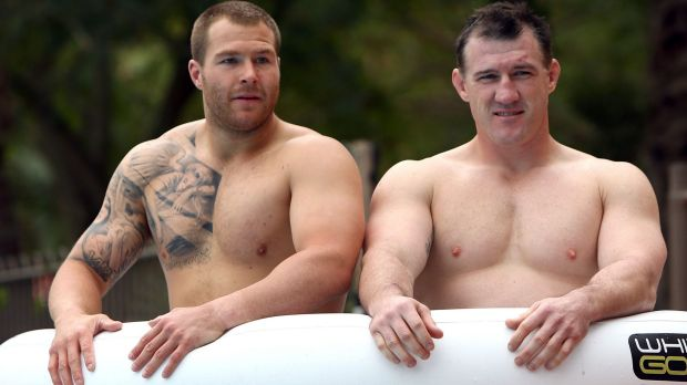 Trent Merrin and Paul Gallen share an ice bath during a NSW State of Origin recovery session in Coffs Harbour in June 2014.