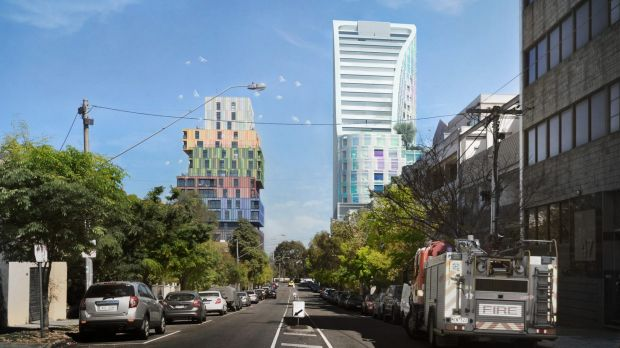 The proposed tower (right) viewed from Wellington Street.